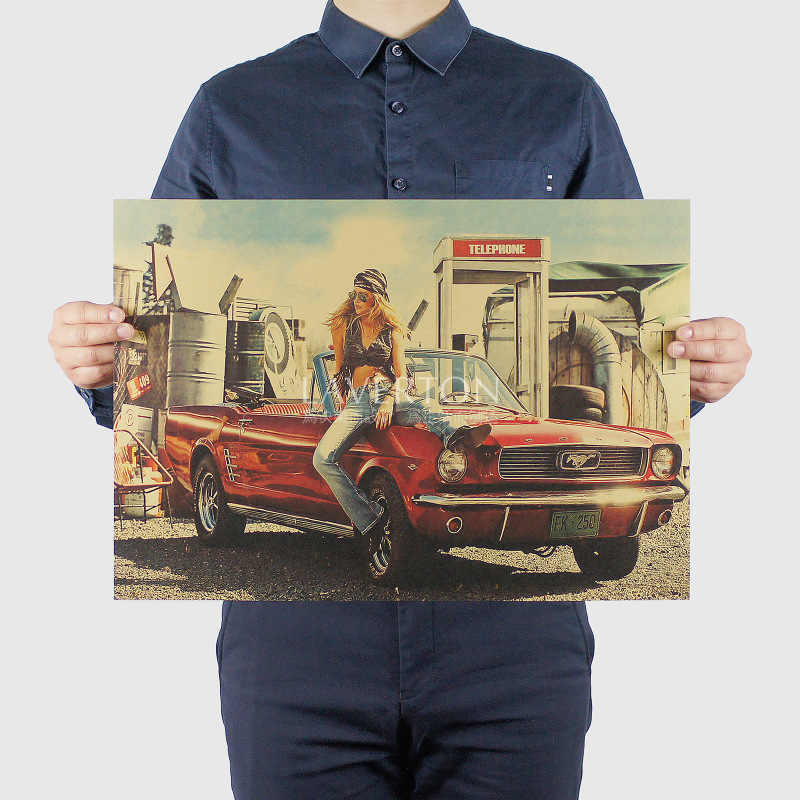 Sexy Beauty girl and Vintage car /mustang roadster/kraft paper/ Wall stickers / bar Retro Poster/decorative painting 51x35.5cm
