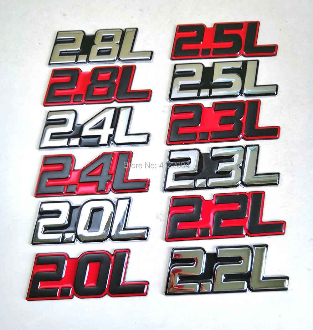 Наклейка-эмблема на багажник 2.0L 2.2L 2.3L 2.4L 2.5L 2.8L для AUDI Skoda BMW CHEVROLET FORD HYUNDAI KIA MAZDA NISSAN