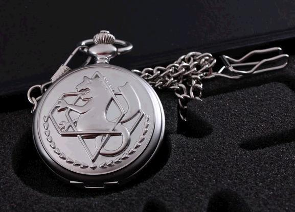 Antique silver tone Fullmetal Alchemist Pocket Watch Cosplay Edward Elric Anime