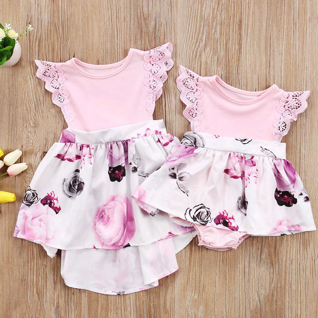 a1c46f23bba7 Toddler Kids Girl Newborn Baby Sisters Floral Dress Romper Sundress Clothes  Children Enfant Girls Flower Brief Dresses Lovely-in Matching Family  Outfits ...