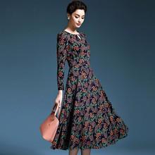 Весна и осень Для женщин Платье из одного предмета элегантный вязаный с длинными рукавами и круглым вырезом платье Тонкий Полный платье с принтом