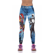 52db7e8771de9 Cosplay Halloween Jack Skellington Leggings Women The Nightmare Before  Christmas Plus Size Pants Digital Print Fitness