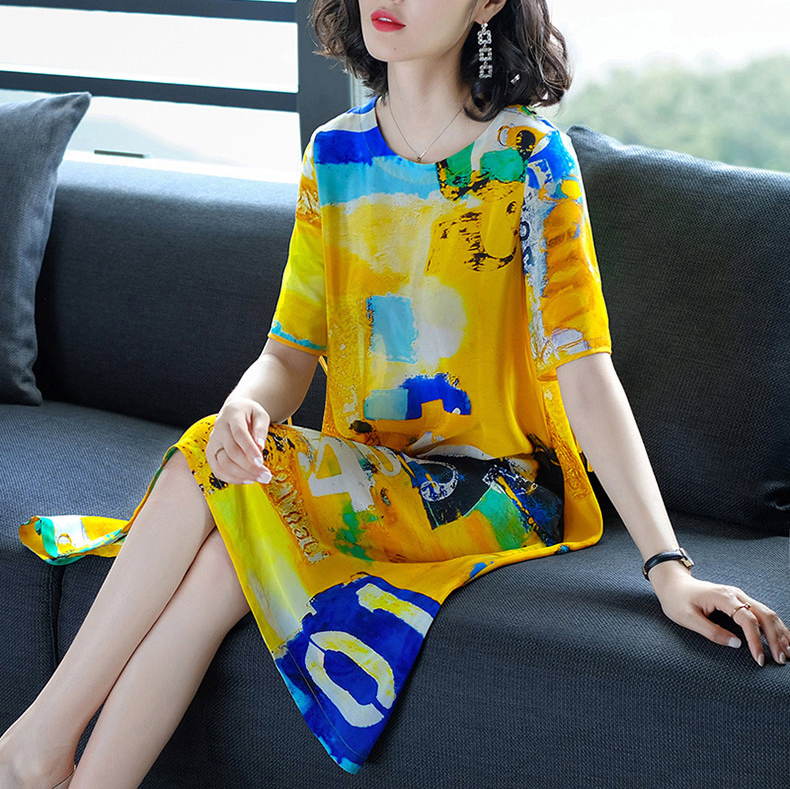 Sweet Women Dress 2019 New Summer National Style Loose Print Dresses Imitate Real Silk Dresses Lady's Evening Party Dress