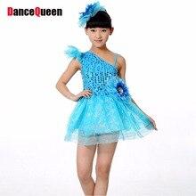 2017 New  Latin Dance Dress For Girls Princess Veil Skirt Sequins Vestido De Baile Latino Children Party Dress Vestido De Danca
