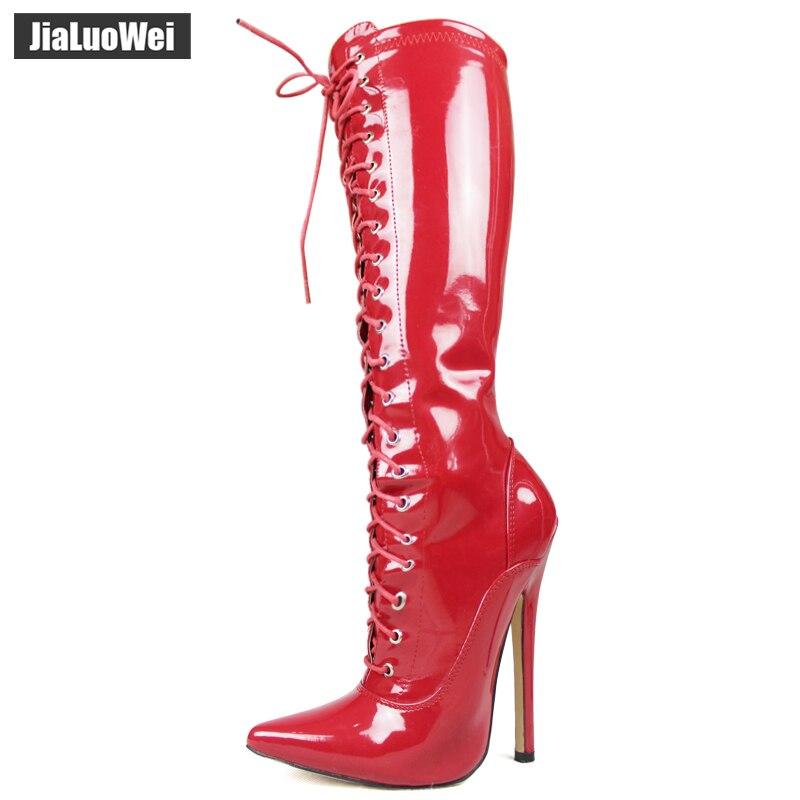 패션 특허 가죽 부츠 여성 봄 가을 지적 발가락 무릎 높은 부츠 여성 18 cm 하이힐 부츠 섹시한 얇은 발 뒤꿈치 레이스 업-에서무릎 - 하이 부츠부터 신발 의  그룹 1