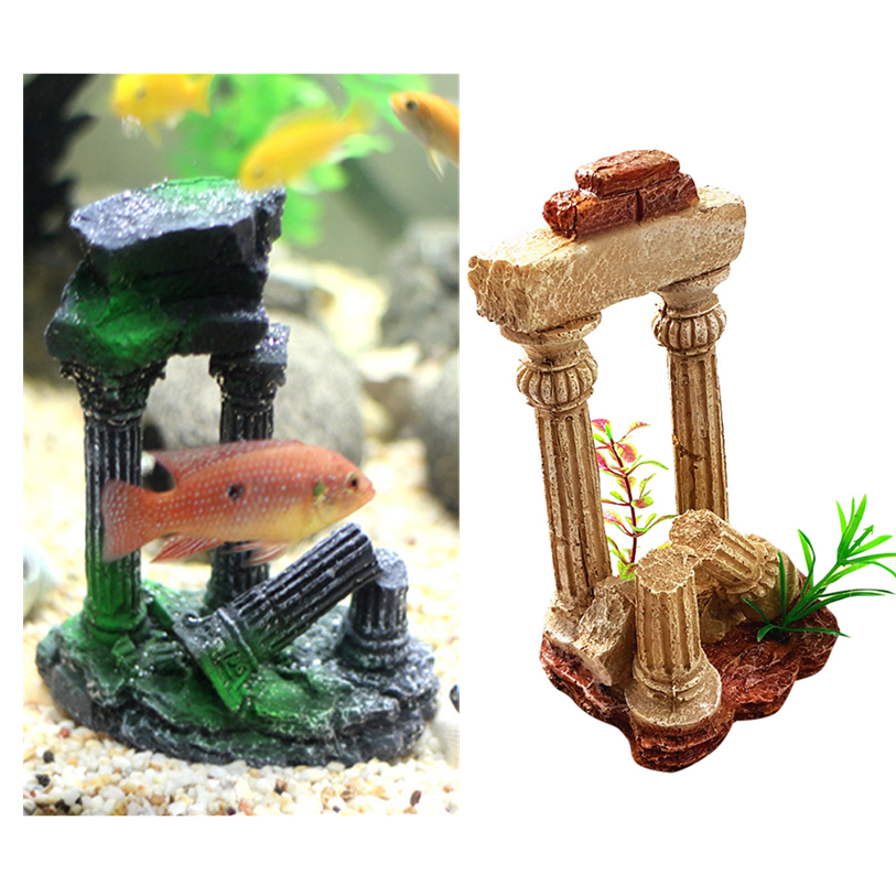 Pet Products Roman Temple Ruins Aquarium Rockery Hiding Cave Tree Fish Tank Ornament Decoration Creative Resin Underwater Landscape Nomc7