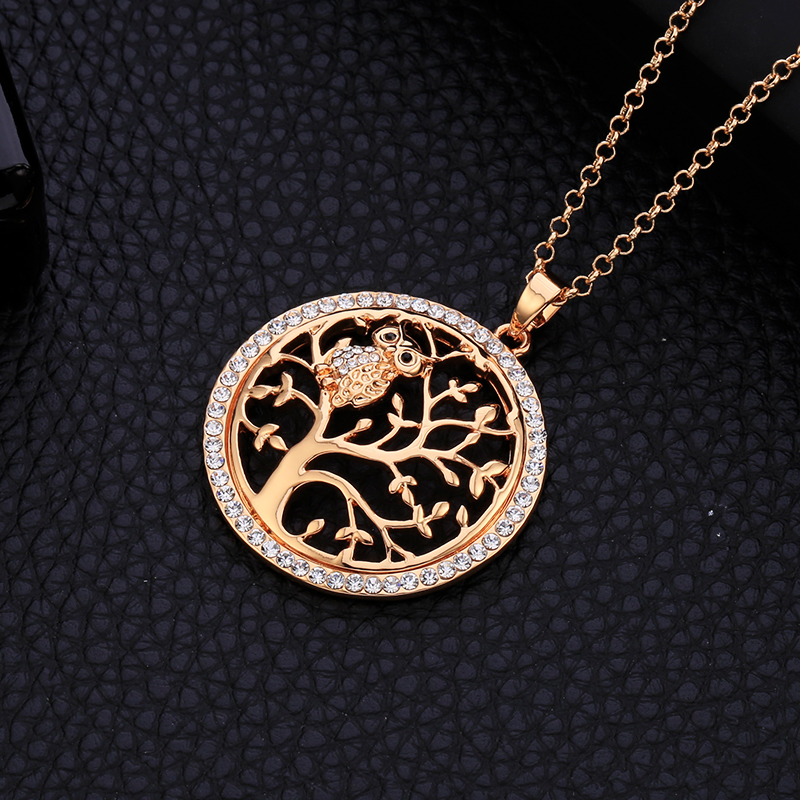 Små Uggla Halsband Tree Of Life Hänge Rose Gold Women Sweater Chain - Märkessmycken - Foto 3