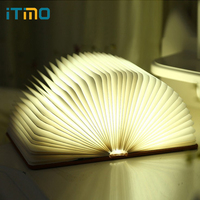 ITimo USB LED Book Shaped Night Light Creative Foldable Page Book Lights Novelty Lighting Table Lamp