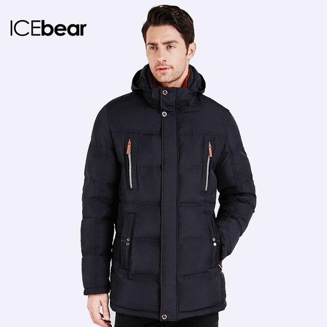 ICEbear 2016 Био-Пух Длина пуховика до середины бедра Теплый мужской стильный куртка Капюшон съёмный удобный Пальто для мужчин 16MD893