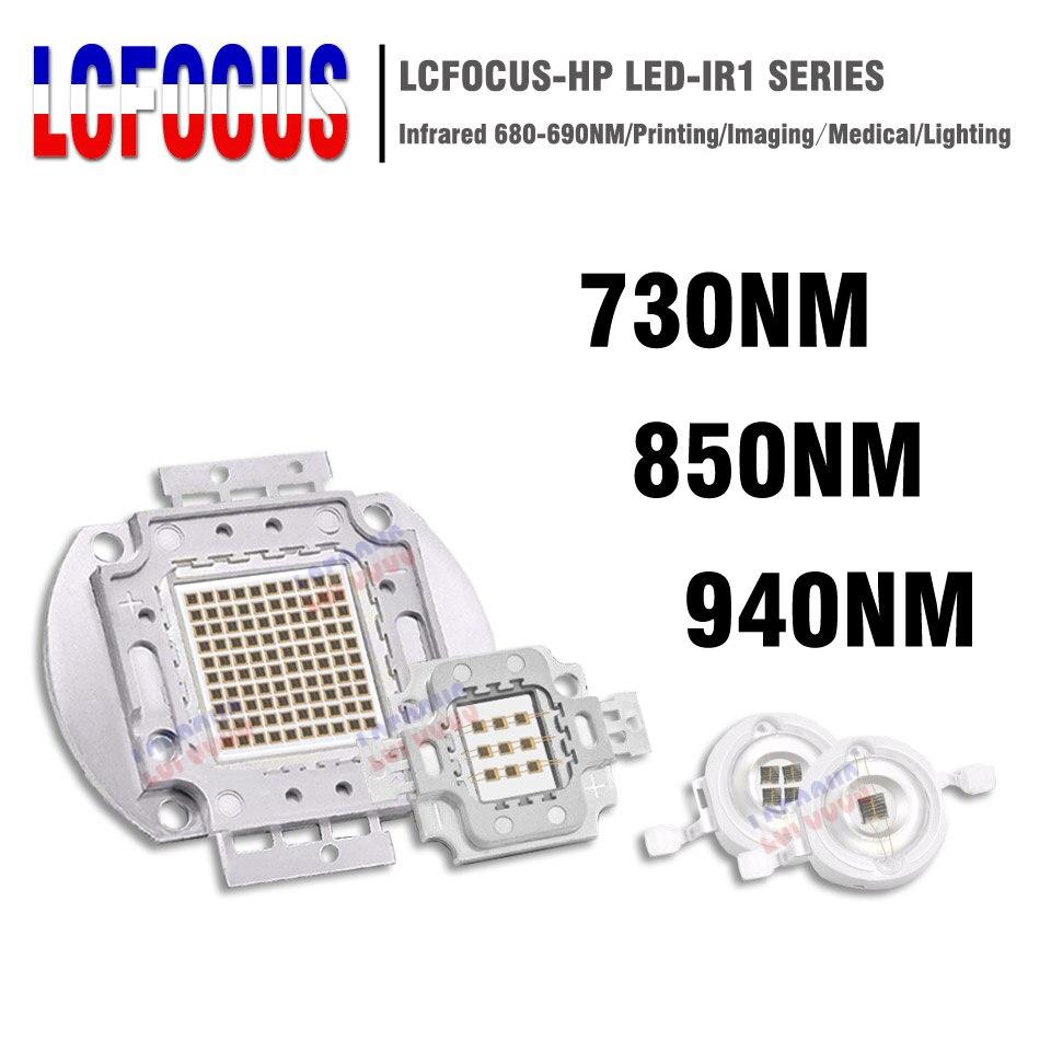 High Power LED Chip IR 730Nm 850Nm 940Nm COB 3W 5W 10W 20W 30W 50W 100W Infrared Radiation Bulbs Detect Sensor Laser Flashlight high quality 730nm 740nm ir led chip 10w 20w 30w 50w 100w led lamp epileds led chip for detecting sensor laser flashlight