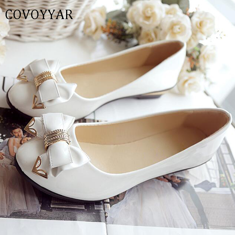 COVOYYAR 2019 Spring Bow Women Shoes Lady Ballet Flats Low Wedge Heel Slip On Casual Shoes Sweet Wedding Bridal Shoes  WFS418