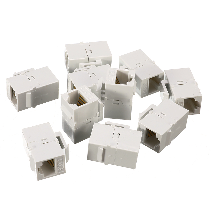 10 Packs CAT6 Inline Coupler Keystone RJ45 Female Snap-In Jack Insert White