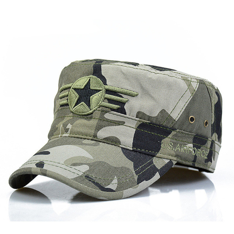2018 New Men Snapback Caps Vintage Army Hat Cadet Patrol Cap Adjustable Five Pointed Star Flat Top Camouflage Hats