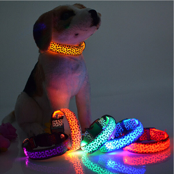 LED Dog Collar Light Flash Leopard Collar Puppy Night Safety