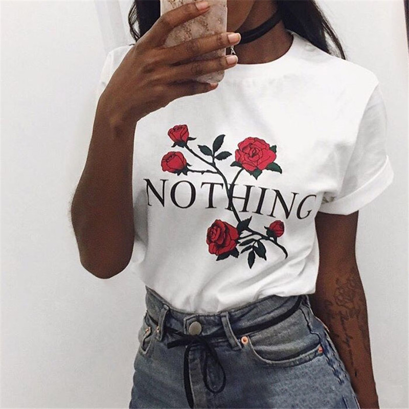 Nothing Letter Print T Shirt Rose Harajuku T-Shirt Women 2017 Summer Casual Short Sleeve TShirt White Gray Punk Shirts