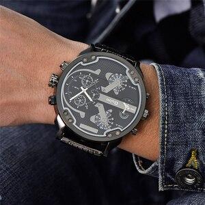 Image 5 - Oulm שני זמן אזור גדול חיוג יפן קוורץ צבאי שעונים גברים יוקרה מותג פלדת שעוני יד זכר צבאי שעון זהב שעות