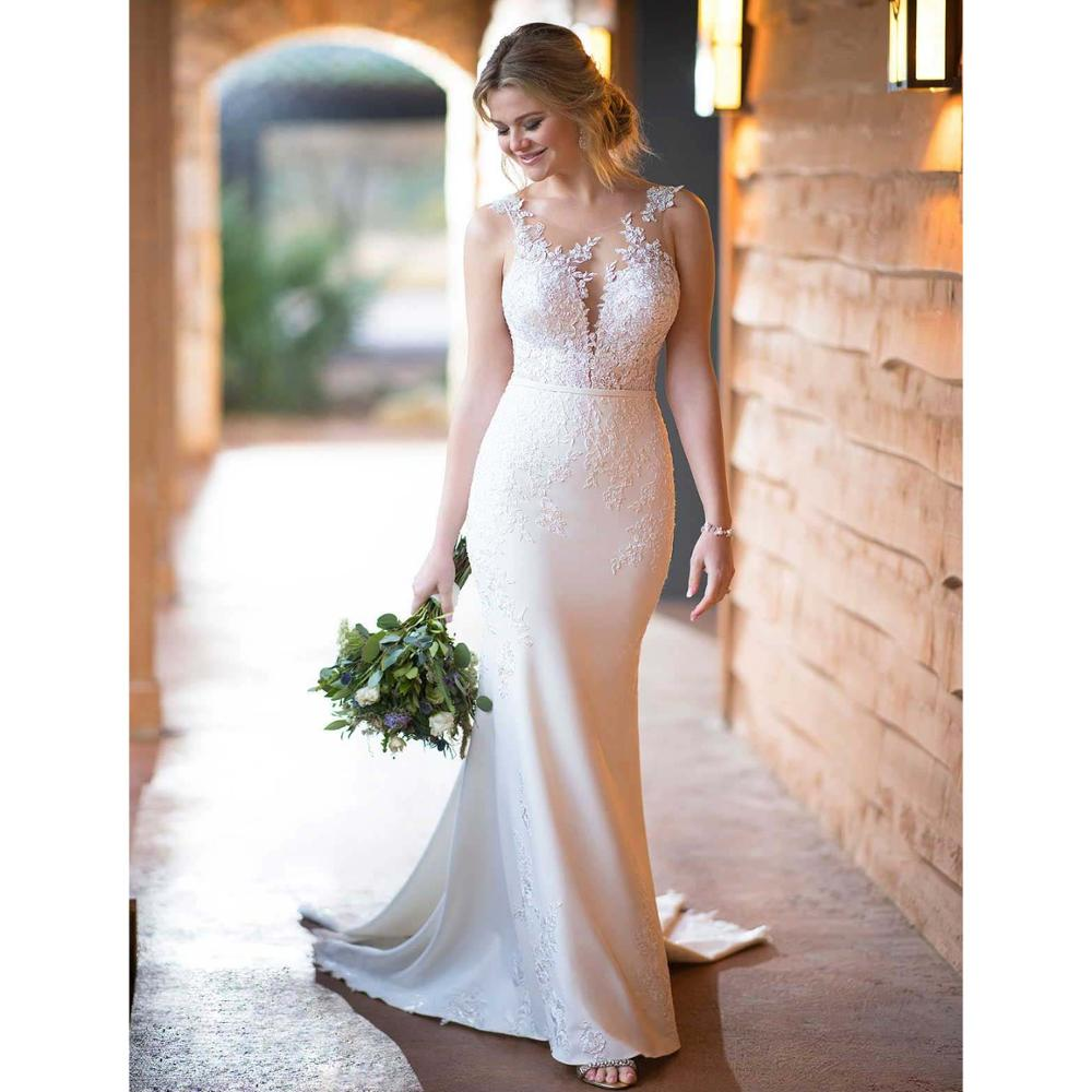 Sexy Mermaid Fit And Flare Crepe Wedding Dress With Shaped Train Sheer Scoop Backless Sleeveless Bridal Gown