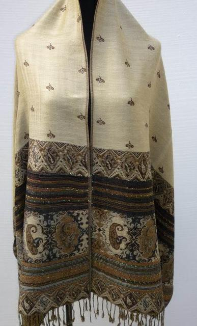 Горячая распродажа бежевый черный новый женский реверсивный два - шали пашмины шелковый шарф шарфы обруча бесплатная доставка WS002-H