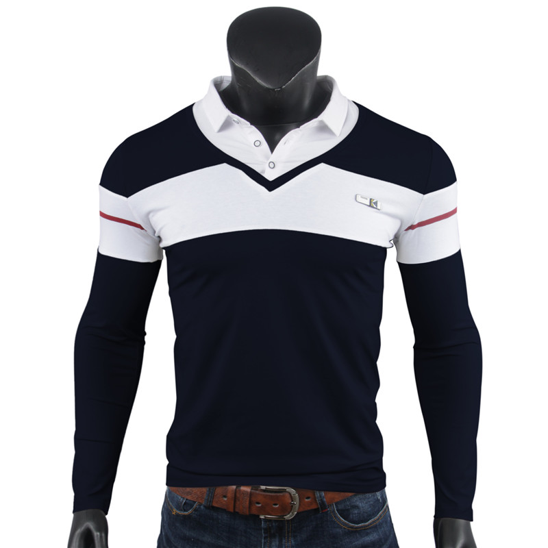 Man Black Tops Turn Down Collar Polo Shirt Men Long Sleeve Cotton Casual Slim Button Contrast