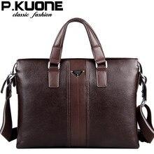 100% Cowhide men's business briefcase / Genuine leather man vintage cross-body one shoulder computer bag / Luxury leather bag