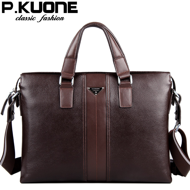 ФОТО 100% Cowhide men's business briefcase / Genuine leather man vintage cross-body one shoulder computer bag / Luxury leather bag