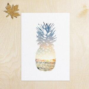 Pineapple Print, Pineapple Art, Summer Print, Summer Art, Blue and Yellow Sunset ,Tropical Decor, Beach Decor AP111