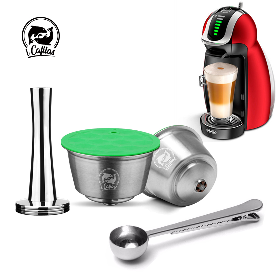 STAINLESS STEEL Metal Reusable Dolce Gusto Capsule Compatible With Nescafe Coffee Machine Refillable Dolci Filter Dripper Tamper
