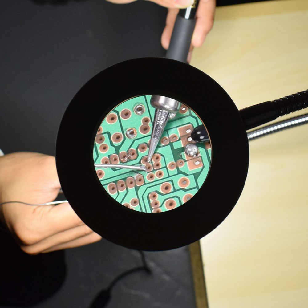 NEWACALOX الروتاري منجلة المشبك الجدول لحام مساعدة الأيدي 3X USB مضيئة المكبر محطة لحام أداة اليد الثالثة