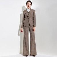 2018 осень и зима новый шерстяной костюм куртка жилет широкие брюки костюм женский клуб наряды 3 шт. комплект Женская одежда
