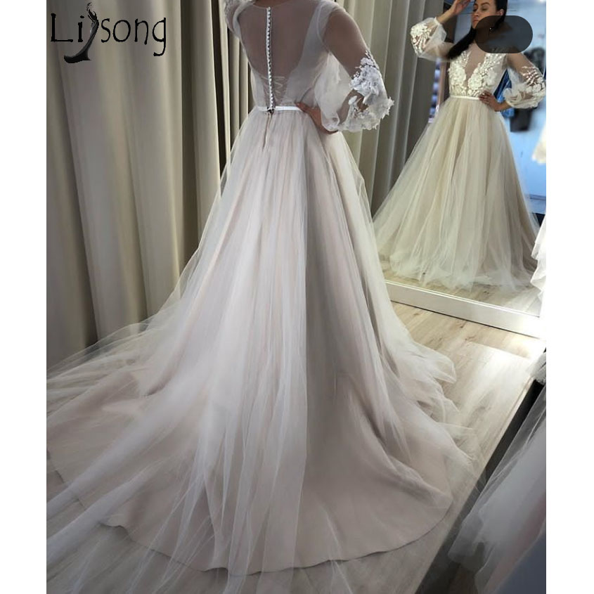 Elegant Tulle Long   Prom     Dresses   Illusion V Neck Puffy Long Sleeve Chic Evening   Dress   Appliqued Beads Formal Party Gowns Cheap