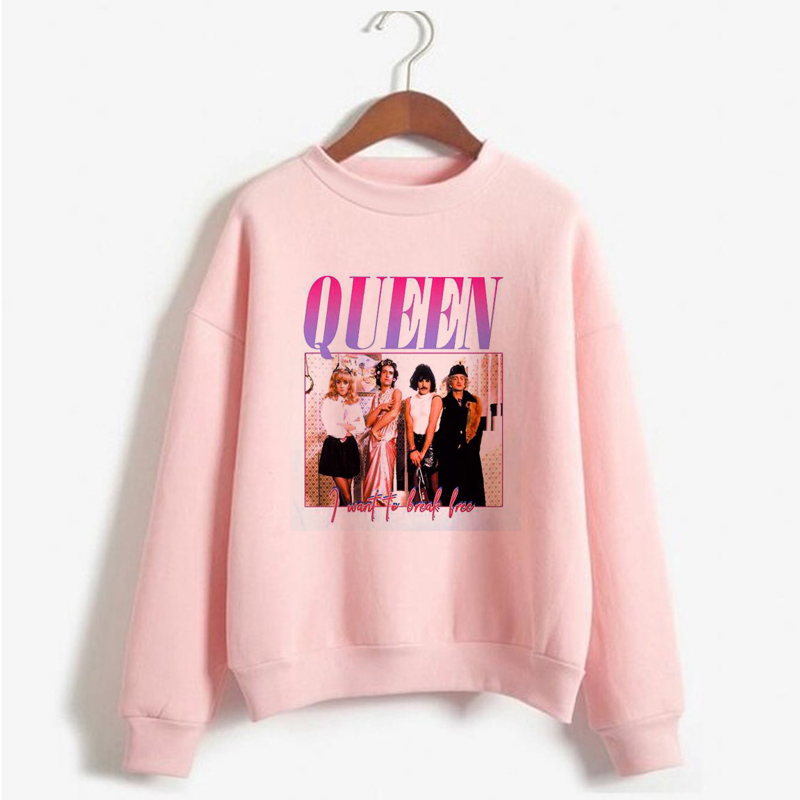 Freddie Mercury Queen Band Sweatshirt Women Long Sleeve Pullover Hip Hop Hoodie Rock Hipster Hoodies Streetwear Kpop Clothing