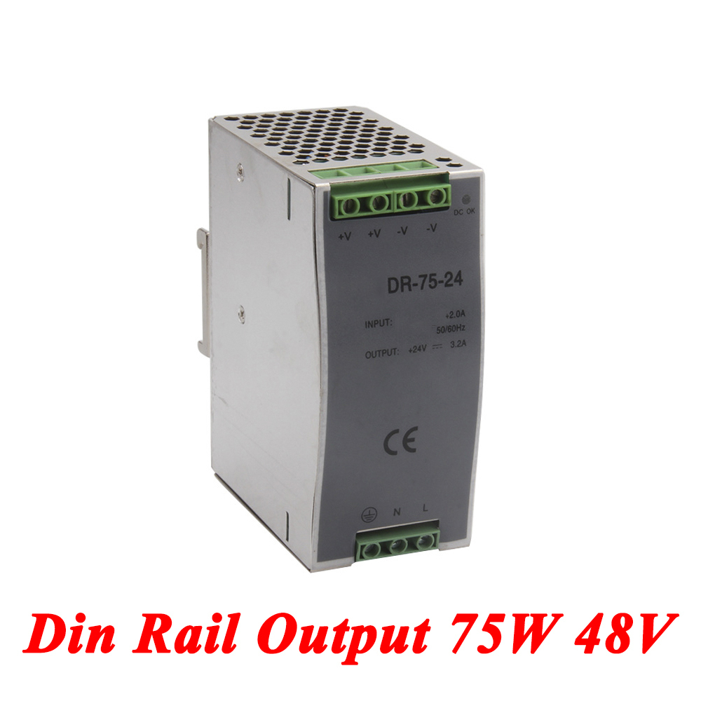 DR-75 Din Rail Power Supply 75W 48V 1.6A,Switching Power Supply AC 110v/220v Transformer To DC 48v,ac dc converter dr 240 din rail power supply 240w 24v 10a switching power supply ac 110v 220v transformer to dc 24v ac dc converter