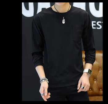 Mens Casual Pocket T-Shirt Simple Scoop Neck Tops Outwear Black White Brown Thin Male Long Sleeve Tees black printed scoop neck sleeveless mini gym tops