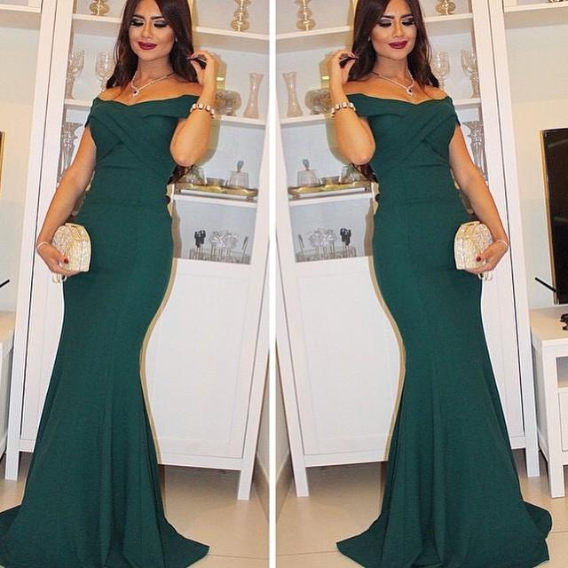 Dark Green Evening Mermaid Dress Sexy Off the Shoulder Formal Occasion  Dress Long Evening Gowns Prom Party Dress 35ac795d9