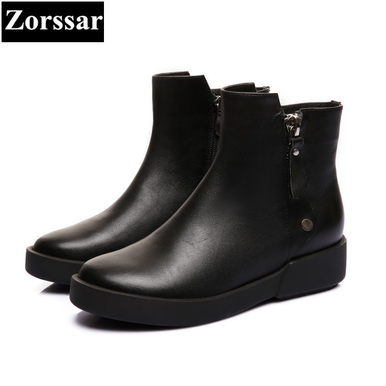 {Zorssar} brand 2017 NEW fashion Womens boots Casual flat heel Genuine Leather ankle Boots Autumn winter women shoes flats 2017 new autumn winter british retro men shoes zipper leather breathable sneaker fashion boots men casual shoes handmade