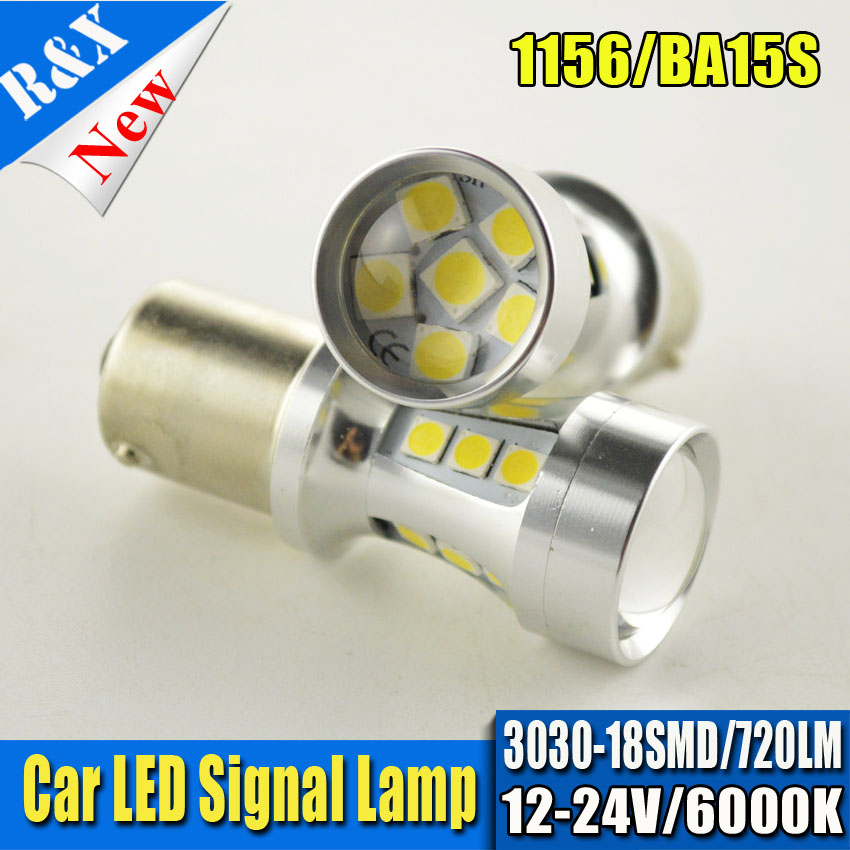 10pcs/lot Freeshipping CANBUS White 1157 P21/5W Bay15d S25 18SMD 3030 720LM High Power LED Turn Brake Signal Light Bulb 12V-24V