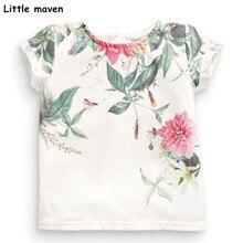Little maven children 2018 summer baby girls clothes short sleeve flower print t shirt Cotton brand tee tops 50971