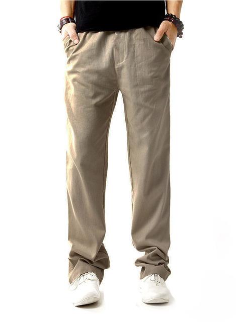 2016 Caliente Venta de Algodón de Lino Pantalones de Los Hombres Pantalones Rectos Ocasionales Flojos de Mediana Altura Pantalones Bottoms Verano Largos Tousers 2M0003