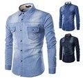 Calças de Brim dos homens Camisa de 2016 Chegam Novas Moda Algodão Slim Fit marca Casual Denim Camisas de Manga Longa de Cor Sólida Camisa Masculina LH182
