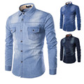 Men Jeans Shirt 2016 New Arrive Fashion Cotton Slim Fit Brand Casual Denim Shirts Long Sleeve Solid Color Male Shirt LH182