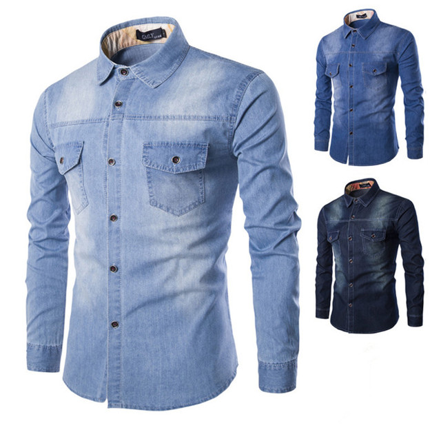 7d33b995 Men Jeans Shirt 2016 New Arrive Fashion Cotton Slim Fit Brand Casual Denim  Shirts Long Sleeve