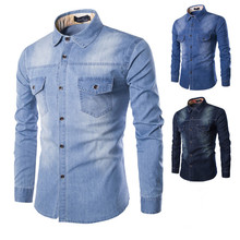 Men Jeans Shirt 2016 New Arrive Fashion Cotton Slim Fit Brand Casual Denim Shirts Long Sleeve Solid Color Male Shirt LH182