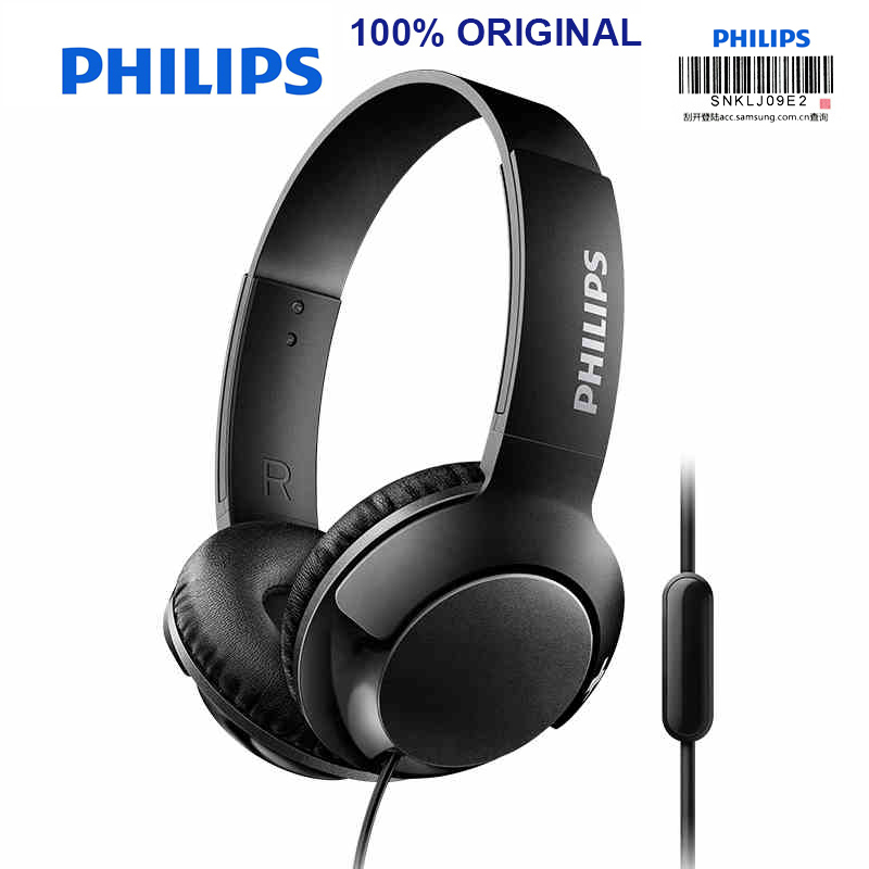 Philips SHL3075 Bass Wired Headphopne with Headband Style Wire Control Noise Reduction for Smartphone Official Certification chrome plated wired control plate for jazz bass total approx 152 54 mm l 344