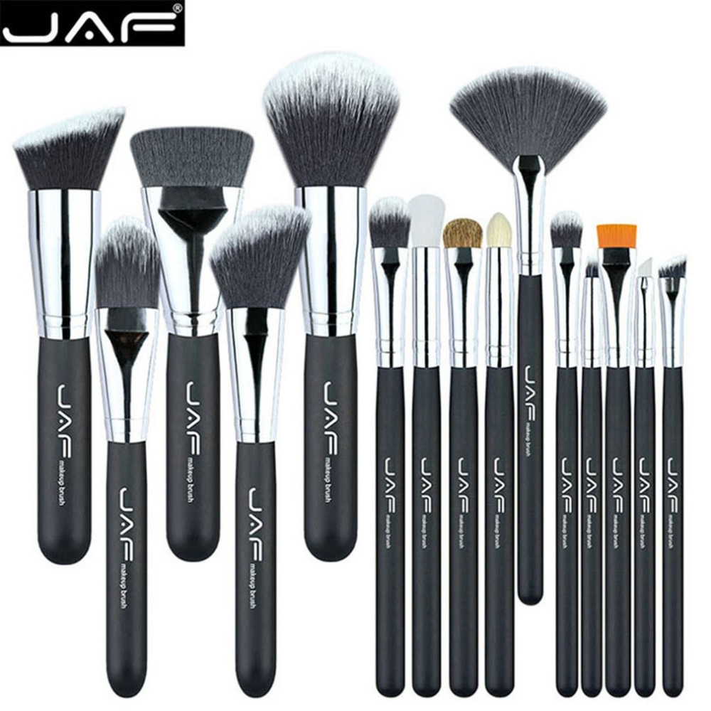JAF 15PCS/SET Portable Cosmetic Makeup Brushes Set Blusher Eyeshadow Powder Foundation Lip Makeup Cosmetic Brush Kit new bob cosmetic makeup powder w puff mirror ivory white 02