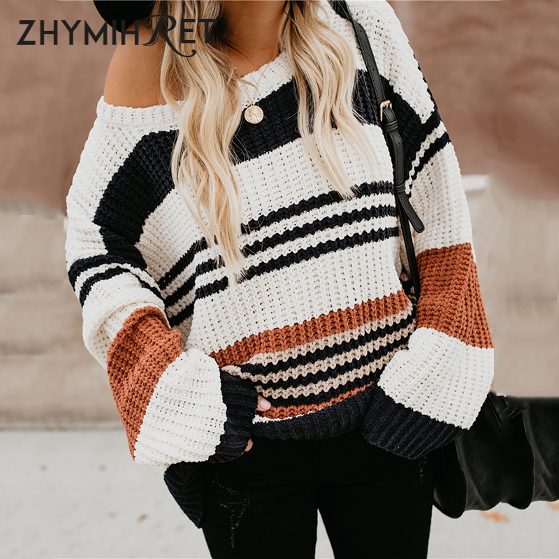 ZHYMIHRET Autumn Winter Striped Sweater Women Long Sleeve Knitted Pullovers Casual Pull Femme Hiver Jersey Mujer Invierno 2018