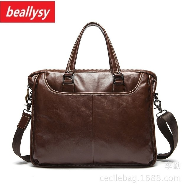 crazy horse Genuine Leather Men Briefcase vintage Laptop Tote Bag Cowhide Men's Messenger Bags male Lawyer Handbag Shoulder bag