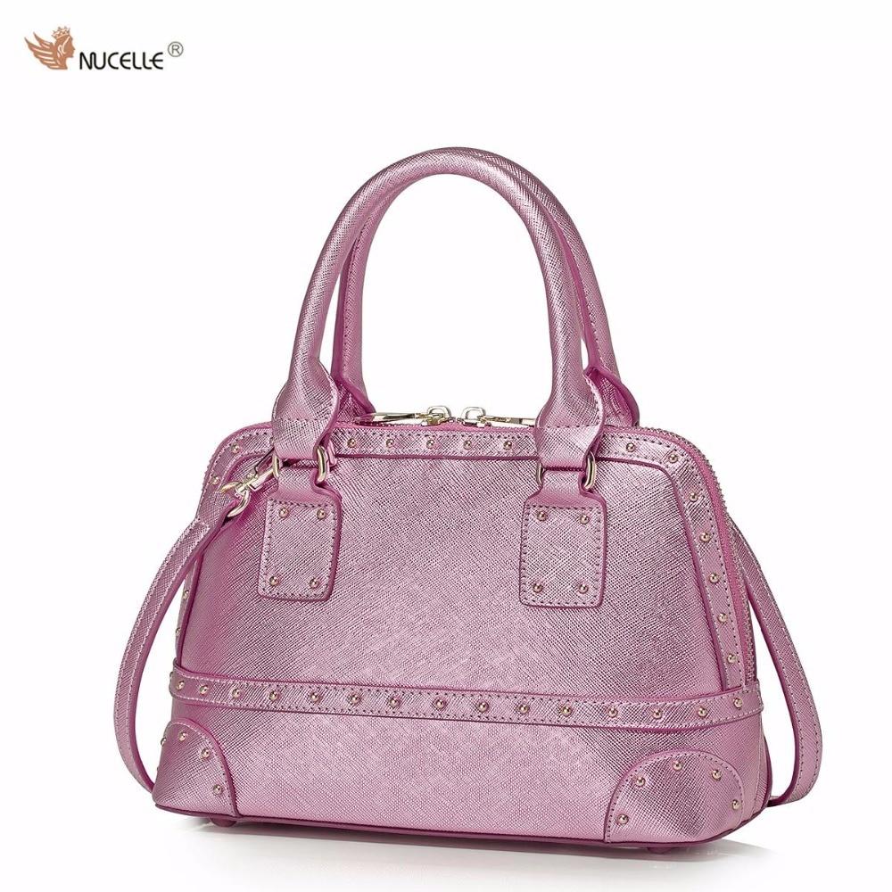 NUCELLE Brand Design Fashion Rivets Cow Leather Women Ladies Handbag Shoulder Crossbody Shell Bags Gift For Girls