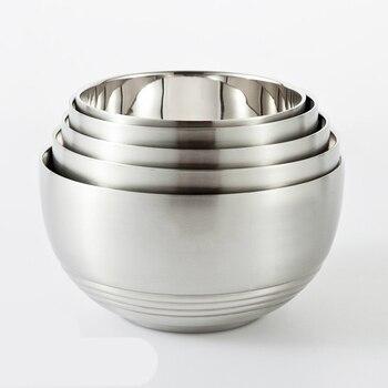 Koreanischen Stil Verdickung Edelstahl Doppelschicht Hitzebeständigen Bowl  Set Mit Deckel Kinder Küche Geschirr Fütterung Lebensmittelbehälter