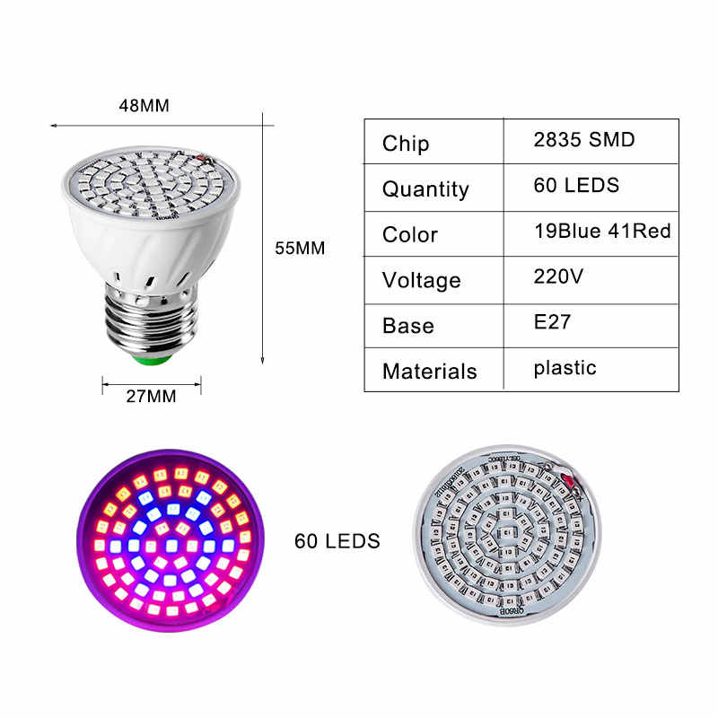 Полный спектр E27 220 V светодиодный завод расти свет лампы Fitolampy Фито лампы для комнатных растений сад цветок гидропоника, шатер для выращивания коробка