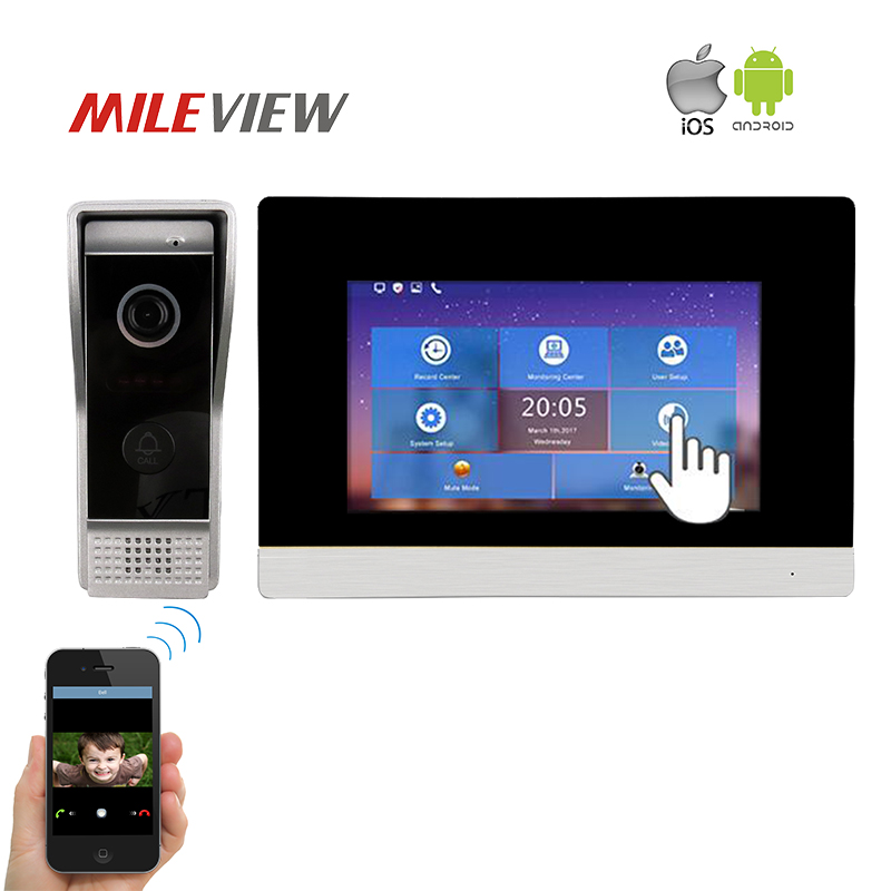Free Shipping 1.0MP 720P HD IP 7 Touch Screen Video Intercom Door Phone System Record Monitor for Android IOS Phone Remote View